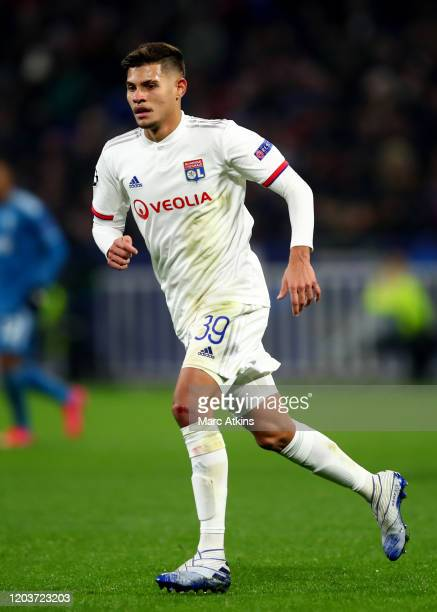 Bruno Guimaraes of Olympique Lyonnais during the UEFA Champions League round of 16 first leg match between Olympique Lyonnais and Juventus at Parc...