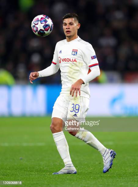 Bruno Guimaraes of Olympique Lyonnais during the UEFA Champions League round of 16 first leg match between Olympique Lyon and Juventus at Parc...