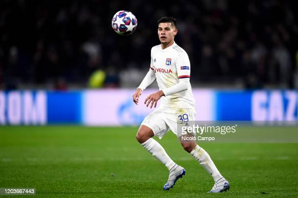 Bruno Guimaraes of Olympique Lyonnais in action during the UEFA Champions League round of 16 first leg football match between Olympique Lyonnais and...