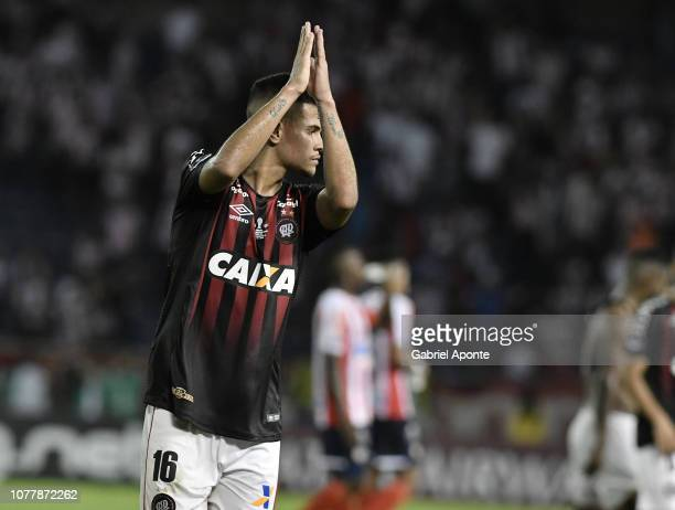 Bruno Guimaraes of Paranaense applauds the fans after the first leg of the final of Copa Sudamericana 2018 between Junior and Atlético Paranaense at...
