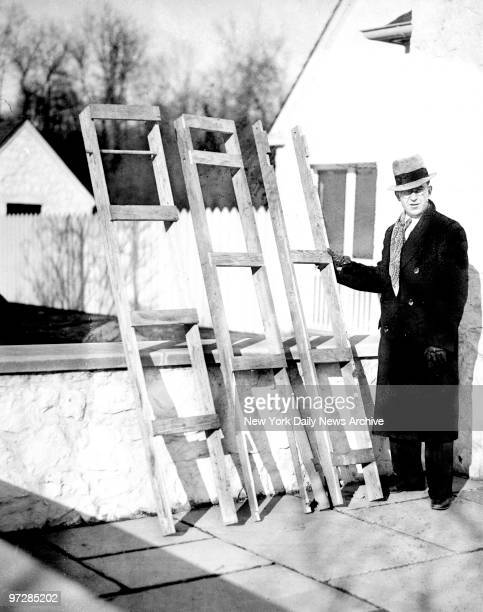 Bruno Hauptmann trial in Flemington for the kidnap and murder of Charles A Lindbergh Jr The sectional ladder by which kidnapers mounted to baby's...