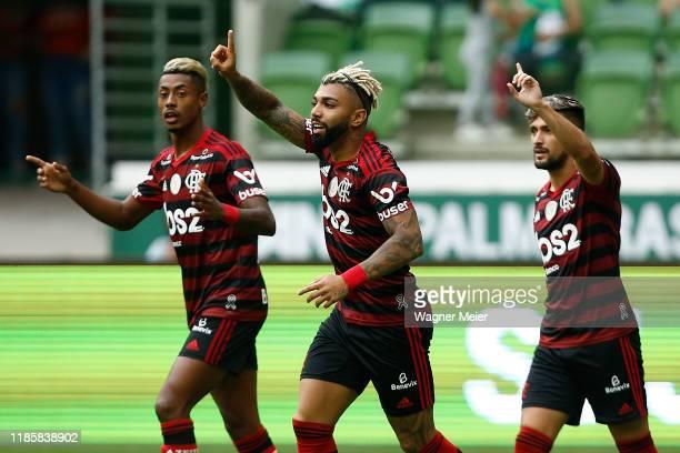 Bruno Henrique Gabriel Barbosa and Arrascaeta of Flamengo reacts during a match between Palmeiras and Flamengo part of Brasileirao Series A 2019 at...