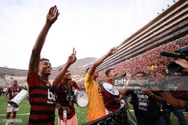 Bruno Henrique Lucas Silva Grabriel Batista of Flamengo celebrates after winning the final match of Copa CONMEBOL Libertadores 2019 between Flamengo...