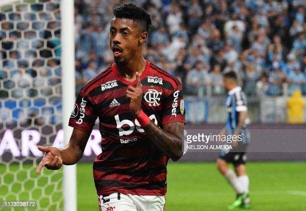 Bruno Henrique of Brazil's Flamengo celebrates after scoring against Gremio during their Copa Libertadores football match at the Arena do Gremio...