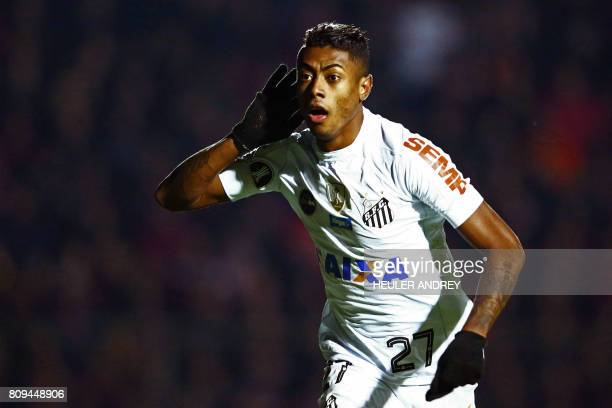 Bruno Henrique of Brazil's Santos celebrates after scoring against Brazil's Atletico Paranaense during their 2017 Libertadores Cup football match at...