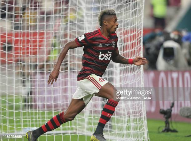 Bruno Henrique of CR Flamengo celebrates after scoring a goal to make it 21 during the FIFA Club World Cup Qatar 2019 Semi Final match between CR...