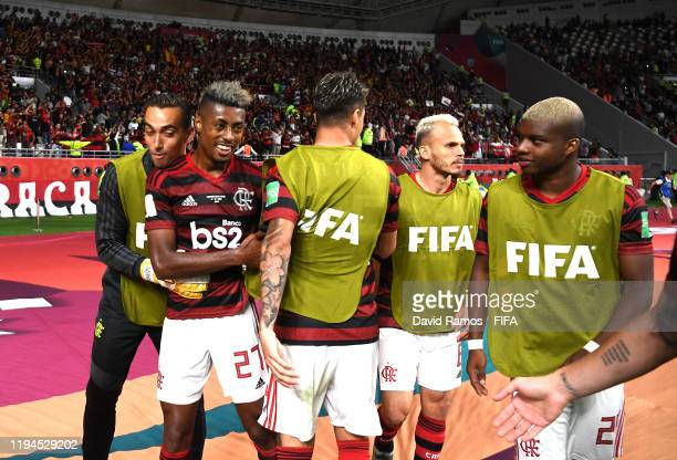 Bruno Henrique of CR Flamengo celebrates his sides third goal with his team mates after a own goal during the FIFA Club World Cup semifinal match...
