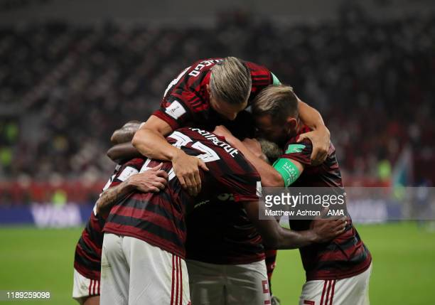 Bruno Henrique of CR Flamengo celebrates with his team mates after scoring a goal to make it 2-1 during the FIFA Club World Cup Qatar 2019 Semi Final...