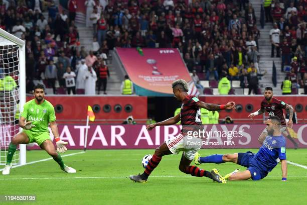 Bruno Henrique of CR Flamengo crosses the ball which Ali Albulayhi of Al Hilal SFC then scores an own goal CR Flamengo's third goal from during the...