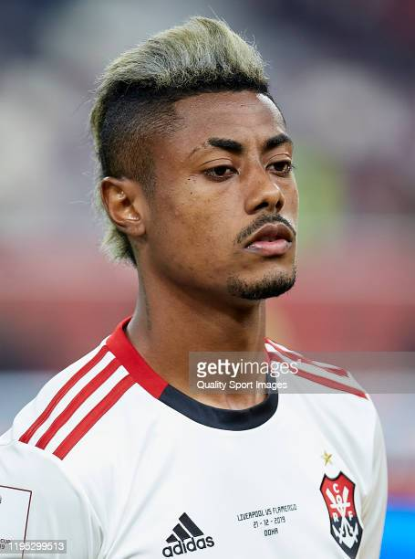 Bruno Henrique of CR Flamengo looks on prior to the FIFA Club World Cup Qatar 2019 Final match between Liverpool FC and CR Flamengo at Khalifa...