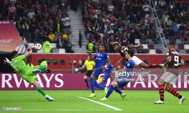 Bruno Henrique of CR Flamengo scores his team's second goal during the FIFA Club World Cup semi-final match between CR Flamengo and Al Hilal FC at...
