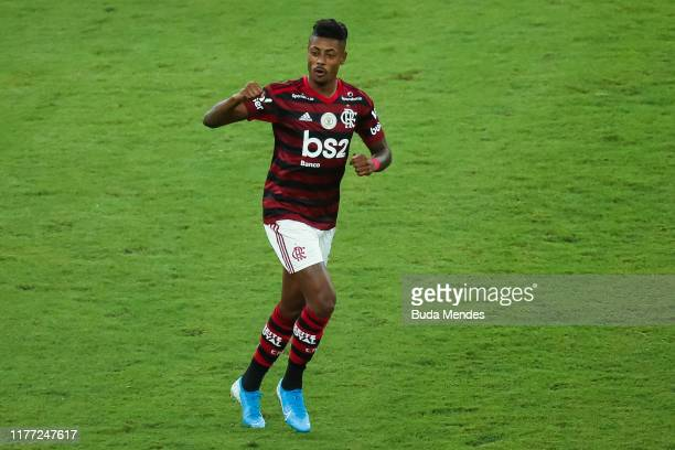 Bruno Henrique of Flamengo celebrates a scored goal against Fluminense during a match between Flamengo and Fluminense as part of Brasileirao Series A...