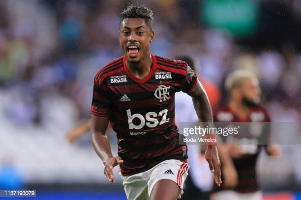 Bruno Henrique of Flamengo celebrates a scored goal during a match between Vasco da Gama and Flamengo as part of State Championship Final 1 at Nilton...