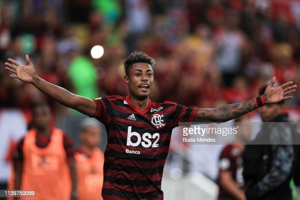 Bruno Henrique of Flamengo celebrates a scored goal during a match between Flamengo and Cruzeiro as part of Brasileirao Series A 2019 at Maracana...