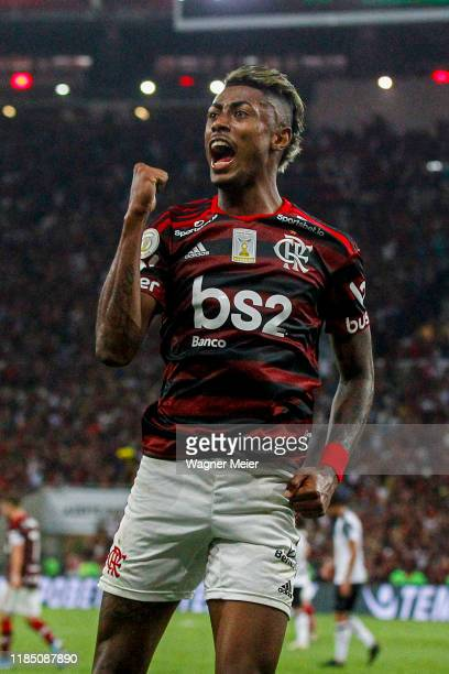 Bruno Henrique of Flamengo celebrates after a goal during the match against Ceará for the Brasileirao Series A 2019 at Maracana Stadium on November...