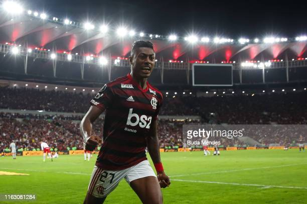 Bruno Henrique of Flamengo celebrates after scoring a goal during a match between Flamengo and Internacional as part of Copa CONMEBOL Libertadores...