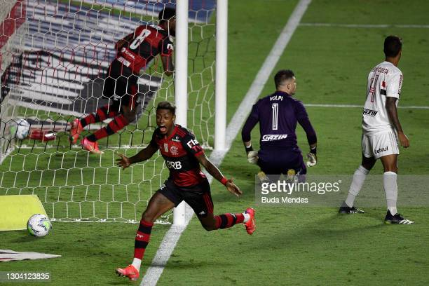 Bruno Henrique of Flamengo celebrates after scoring his team's first goal during a match between Sao Paulo and Flamengo as part of 2020 Brasileirao...