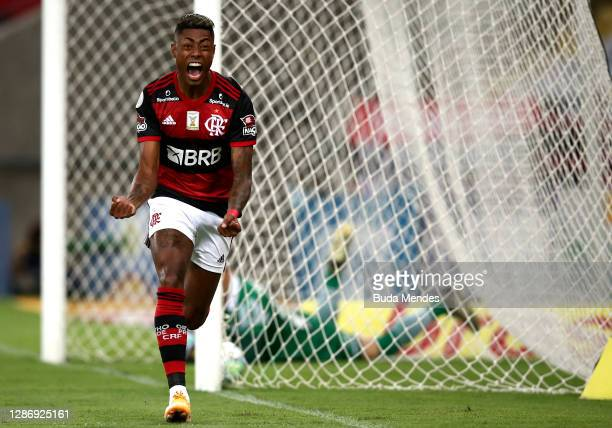Bruno Henrique of Flamengo celebrates after scoring the first goal of his team during a match between Flamengo and Coritiba as part of 2020...
