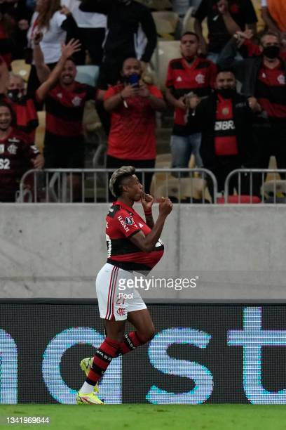 Bruno Henrique of Flamengo celebrates after scoring the first goal of his team during a semi final first leg match between Flamengo and Barcelona SC...