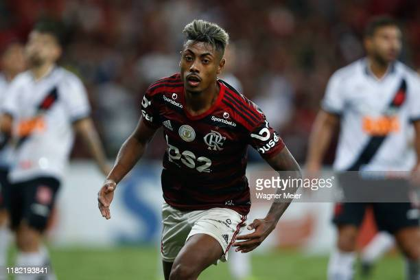 Bruno Henrique of Flamengo celebrates after scoring the fourth goal of his team during a match between Flamengo and Vasco as part of Brasileirao...