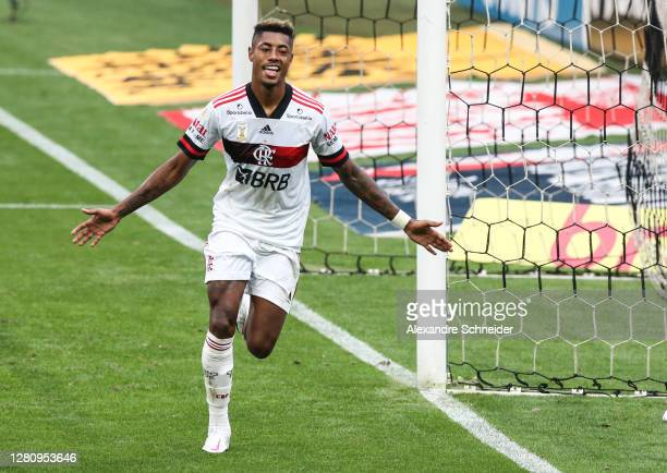 Bruno Henrique of Flamengo celebrates after scoring the fourth goal of his team during the match against Corinthians as part of Brasileirao Series A...