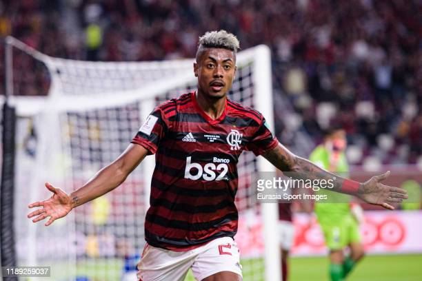 Bruno Henrique of Flamengo celebrates after scoring the second goal of his team during the FIFA Club World Cup Semi-Final match between CR Flamengo...