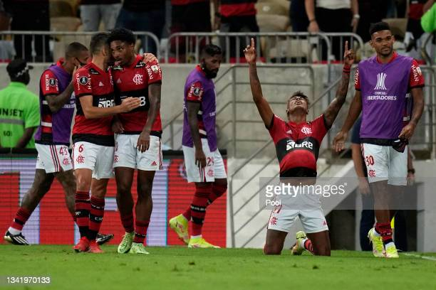 Bruno Henrique of Flamengo celebrates after scoring the second goal of his team during a semi final first leg match between Flamengo and Barcelona SC...