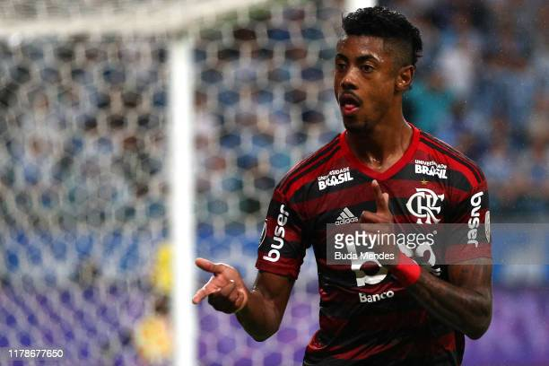 Bruno Henrique of Flamengo celebrates after scoring the the first goal of his team during a semi final first leg match between Gremio and Flamengo as...