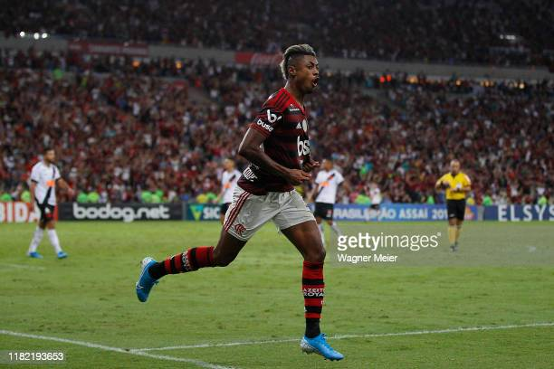Bruno Henrique of Flamengo celebrates after scoring the third goal of his team goal during a match between Flamengo and Vasco as part of Brasileirao...