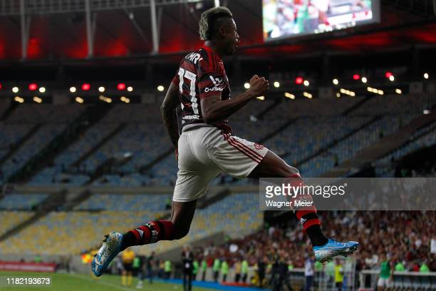 Bruno Henrique of Flamengo celebrates after scoring the third goal of his team during a match between Flamengo and Vasco as part of Brasileirao Seria...