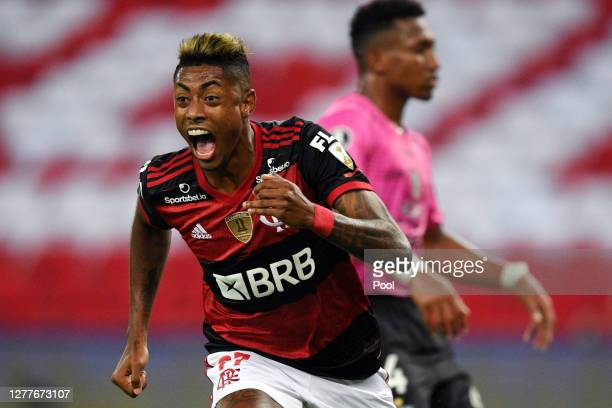 Bruno Henrique of Flamengo celebrates after scoring the third goal of his team during a Copa Libertadores 2020 Group A match between Flamengo and...