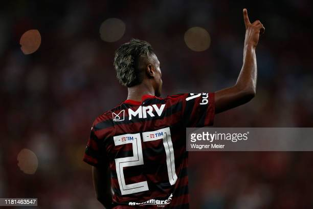 Bruno Henrique of Flamengo celebrates his goal during a match between Flamengo and Bahia as part of Brasileirao Series A 2019 at Maracana Stadium on...