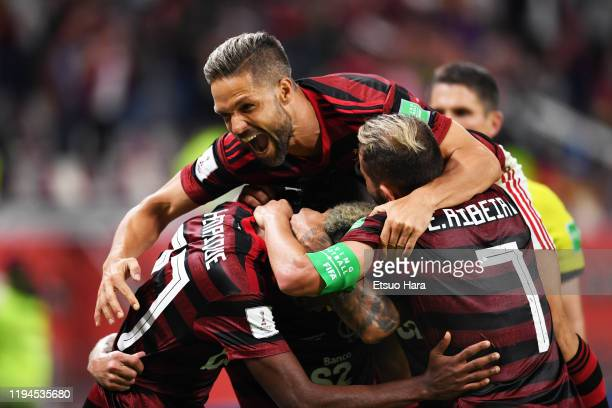 Bruno Henrique of Flamengo celebrates scoring his side's second goal during the FIFA Club World Cup Qatar Semifinal between CR Flamengo and Al Hilal...