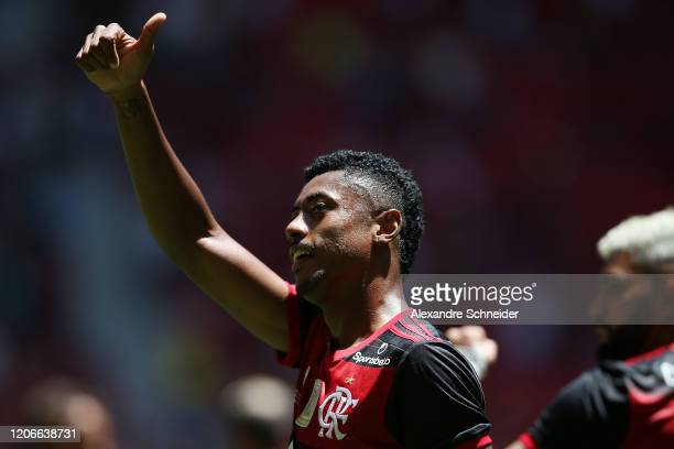 Bruno Henrique of Flamengo celebrates the opening goal of the match during the Brazilian Supercopa final between Flamengo and Athletico PR at Mane...