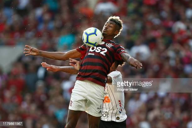 Bruno Henrique of Flamengo competes for the ball with Junior Urso of Corinthians at Maracana Stadium on November 3 2019 in Rio de Janeiro Brazil