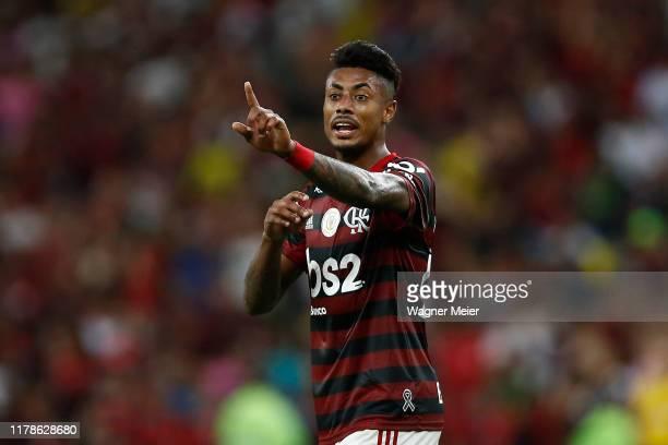 Bruno Henrique of Flamengo gestures at Maracana Stadium on October 27 2019 in Rio de Janeiro Brazil