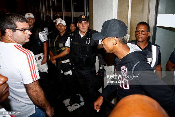 Bruno Henrique of Flamengo team arrives after playing the FIFA Club World Cup Qatar 2019 Final Against Liverpool at Tom Jobim Internacional Airport...