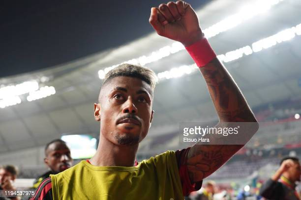 Bruno Henrique of Flamengo waves fans after the FIFA Club World Cup Qatar Semifinal between CR Flamengo and Al Hilal at Khalifa International Stadium...