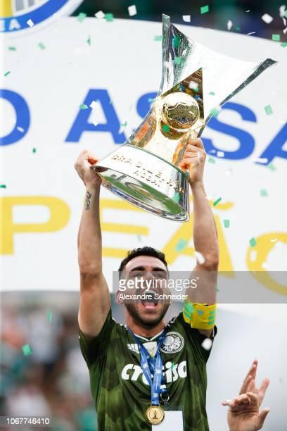 Bruno Henrique of Palmeiras celebrate after winning the Brasileirao 2018 after the match against Vitora at Allianz Parque Stadium on December 02 2018...