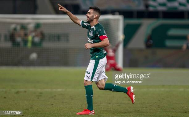 Bruno Henrique of Palmeiras celebrates after scoring the second goal of his team during a match between Palmeiras and Avai for the Brasileirao Series...