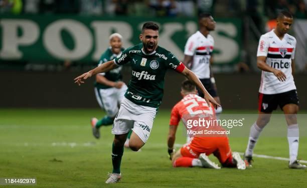 Bruno Henrique of Palmeiras celebrates his team first goal during a match between Palmeiras and Sao Paulo for the Brasileirao Series A 2019 at...