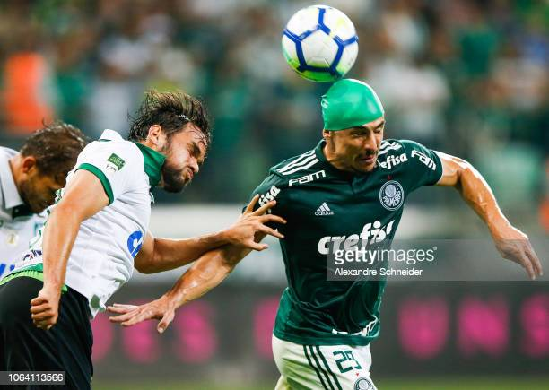 Bruno Henrique of Palmeiras heads the ball during the match against America MG for the Brasileirao Series A 2018 at Allianz Parque Stadium on...