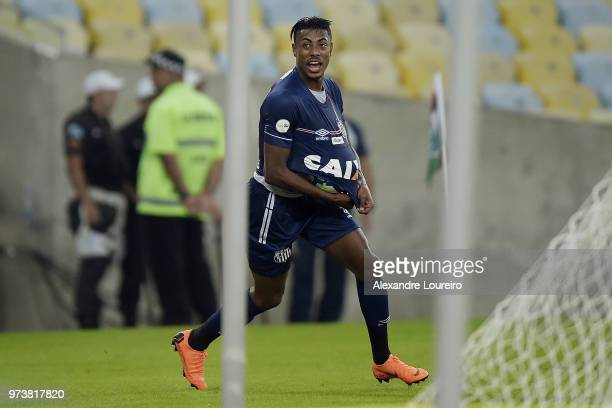 Bruno Henrique of Santos celebrates their first scored goal during the match between Fluminense and Santos as part of Brasileirao Series A 2018 at...