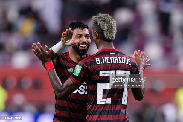 Bruno Henrique Pinto of Flamengo celebrates his goal with his teammate Gabriel Barbosa of Flamengo during the FIFA Club World Cup SemiFinal match...
