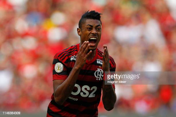 Bruno Henrique reacts during a match between Flamengo and Athletico PR as part of Brasileirao Series A 2019 at at Maracana Stadium on May 26 2019 in...