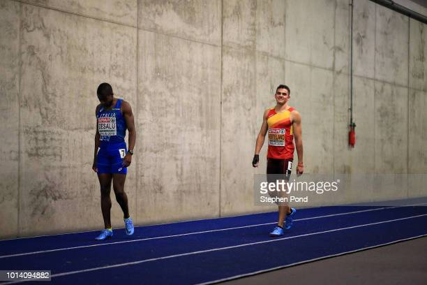 Bruno Hortelano of Spain prepares on the warm up track ahead of competing in the Men's 200m final during day three of the 24th European Athletics...