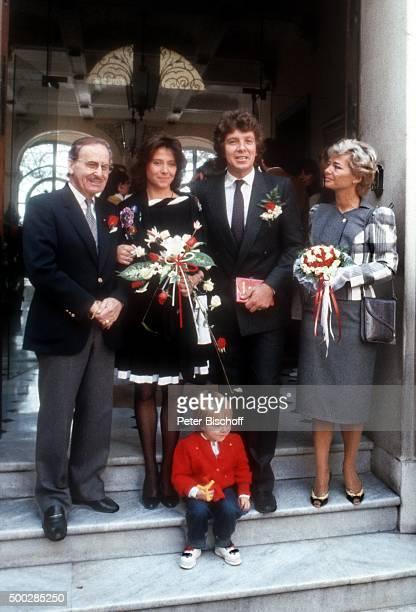 """""""Bruno Ingold , Monika Schanze, Michael Schanze, Sohn Florian Schanze, Elke Blum , Hochzeit am in Monte Carlo, Monaco. """""""