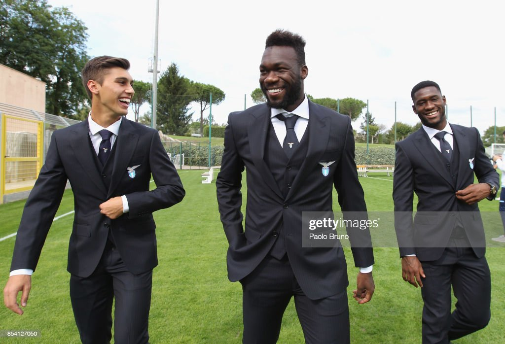 Bruno Jordao, Felipe Caicedo and Bastos of SS Lazio looks on during the official team photo on September 26, 2017 in Rome, Italy.
