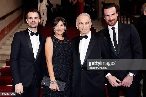 Bruno Julliard Anne Hidalgo Alain Terzian and Mathias Vicherat attend the Cesar Film Award 2016 at Theatre du Chatelet on February 26 2016 in Paris...