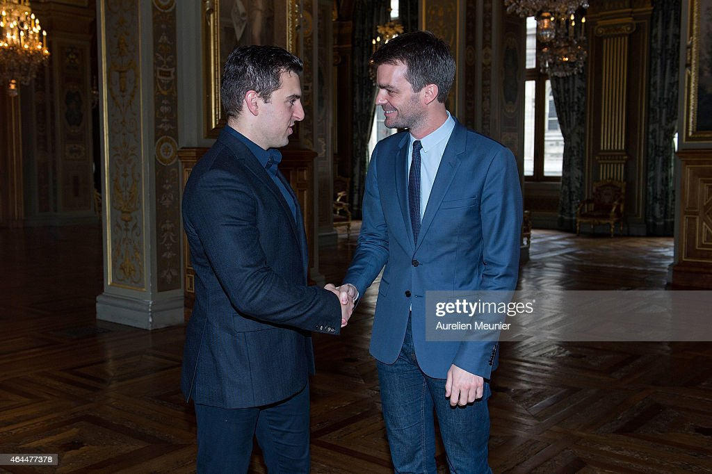 Bruno Julliard, First Deputy Mayor of Paris Receives Brian Chesky, Founder And CEO Of Airbnb At Paris City Hall : News Photo